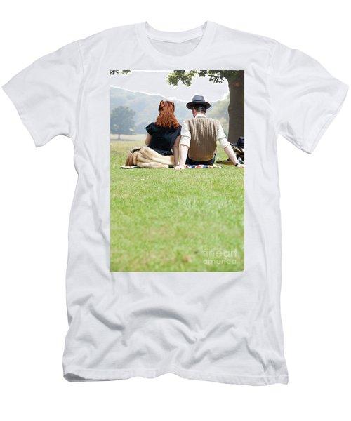 1940s Couple Sitting In The Sunshine Men's T-Shirt (Slim Fit) by Lee Avison