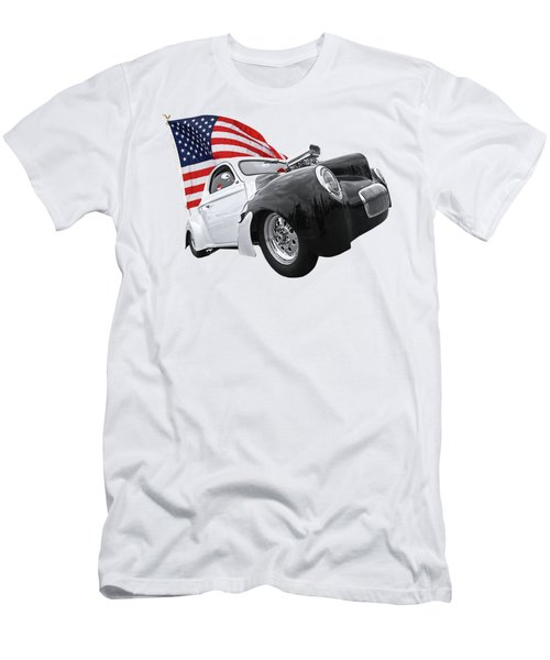 1941 Willys Coupe With Us Flag Men's T-Shirt (Slim Fit) by Gill Billington