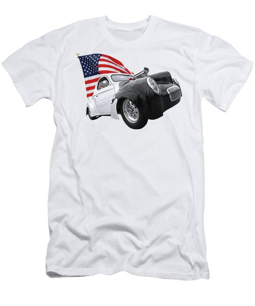 1941 Willys Coupe With Us Flag Men's T-Shirt (Athletic Fit)