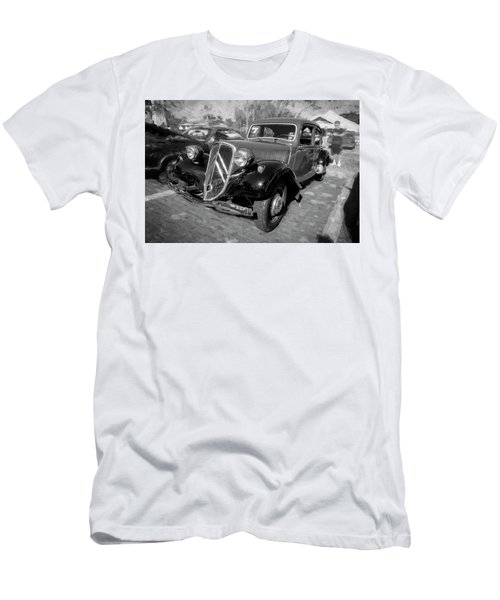 Men's T-Shirt (Slim Fit) featuring the photograph 1953 Citroen Traction Avant Bw by Rich Franco