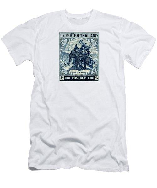 1955 Thailand War Elephant Stamp Men's T-Shirt (Slim Fit) by Historic Image