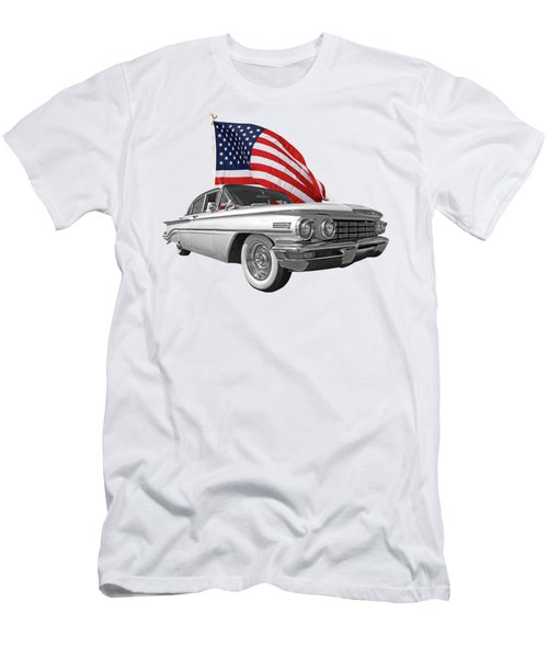 Men's T-Shirt (Slim Fit) featuring the photograph 1960 Oldsmobile With Us Flag by Gill Billington