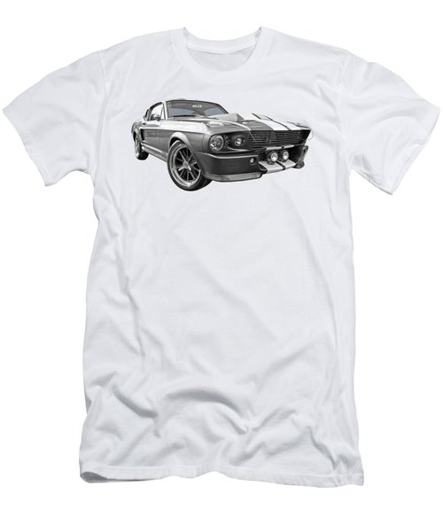 1967 Eleanor Mustang In Black And White Men's T-Shirt (Slim Fit) by Gill Billington