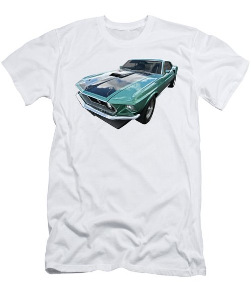 1969 Green 428 Mach 1 Cobra Jet Ford Mustang Men's T-Shirt (Slim Fit) by Gill Billington