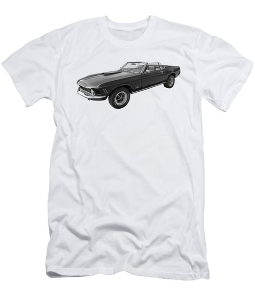 1970 Mach 1 Mustang 351 Cleveland In Black And White Men's T-Shirt (Athletic Fit)