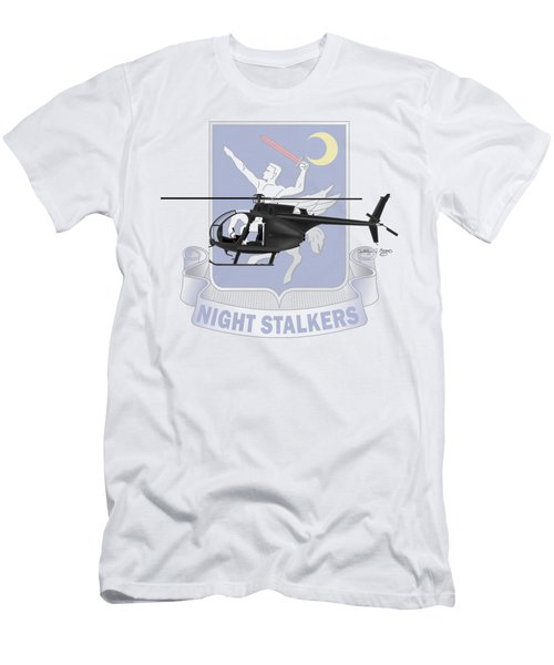Men's T-Shirt (Slim Fit) featuring the digital art Ah-6j Little Bird Night Stalkers by Arthur Eggers