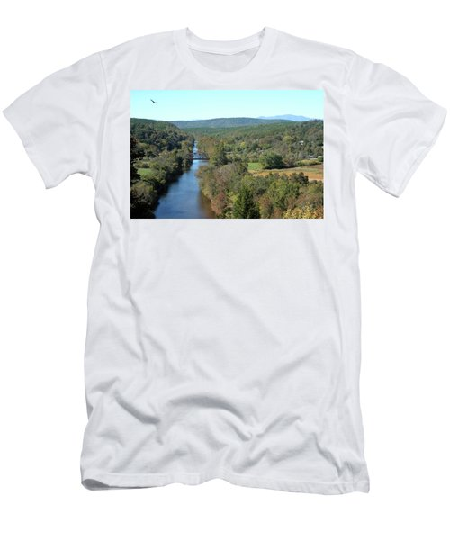 Autumn Landscape With Tye River In Nelson County, Virginia Men's T-Shirt (Slim Fit) by Emanuel Tanjala