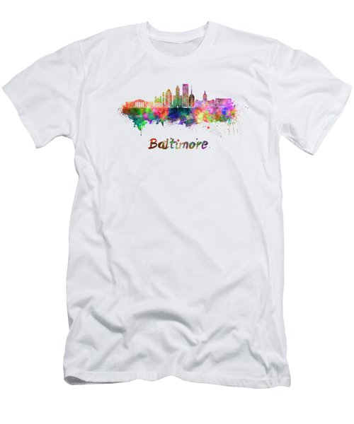 Baltimore Skyline In Watercolor Men's T-Shirt (Athletic Fit)