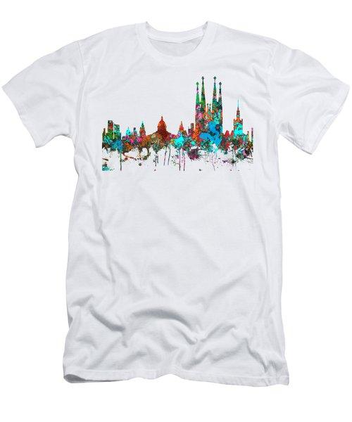 Barcelona Spain Skyline Men's T-Shirt (Slim Fit) by Marlene Watson