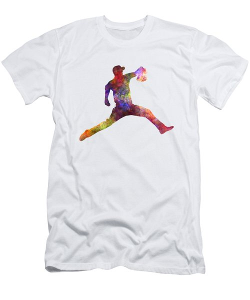 Baseball Player Throwing A Ball Men's T-Shirt (Slim Fit) by Pablo Romero