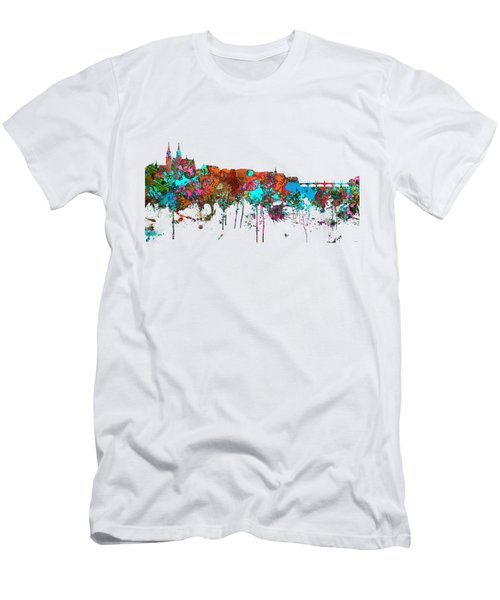 Basle Switzerland Skyline Men's T-Shirt (Slim Fit) by Marlene Watson