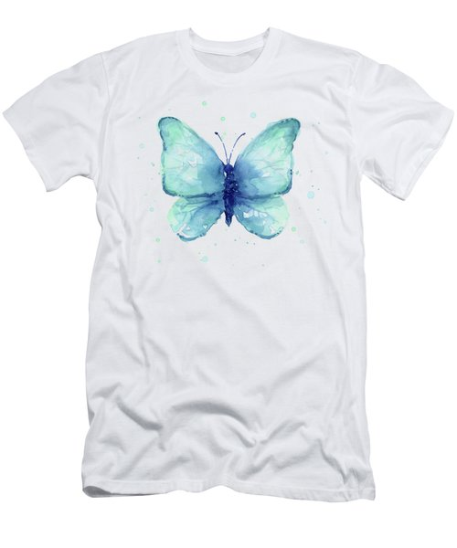 Blue Butterfly Watercolor Men's T-Shirt (Athletic Fit)