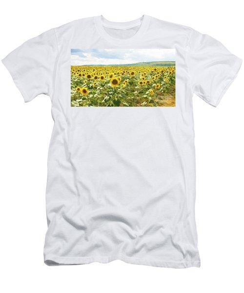 Field With Sunflowers Men's T-Shirt (Slim Fit) by Irina Afonskaya