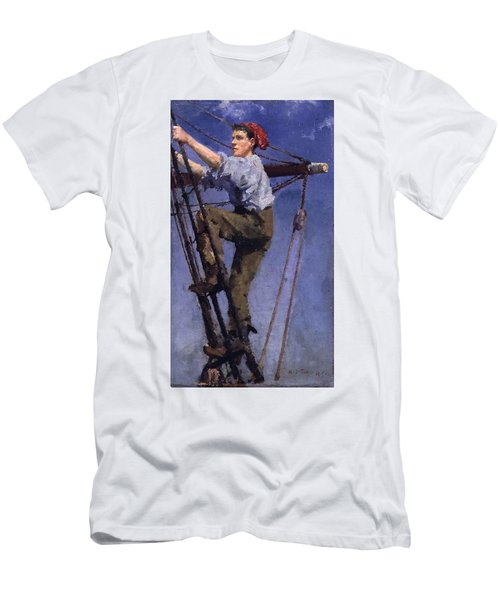 Men's T-Shirt (Slim Fit) featuring the painting Going Aloft by Henry Scott Tuke
