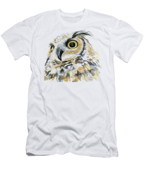 Great Horned Owl Watercolor Men's T-Shirt (Athletic Fit)