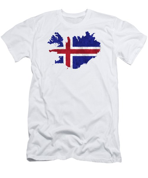 Iceland Map Art With Flag Design Men's T-Shirt (Athletic Fit)