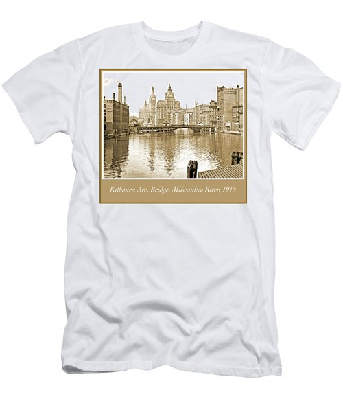 Kilbourn Avenue Bridge, Milwaukee River, C.1915, Vintage Photogr Men's T-Shirt (Athletic Fit)