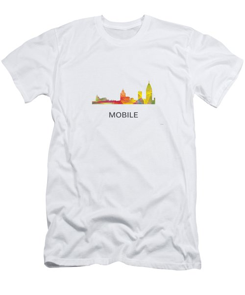 Mobile Alabama Skyline Men's T-Shirt (Slim Fit) by Marlene Watson