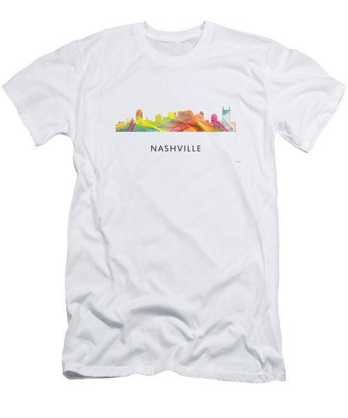 Nashville Tennessee Skyline Men's T-Shirt (Slim Fit) by Marlene Watson