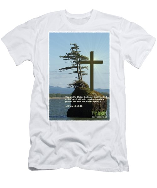 On This Rock I Will Build My Church Men's T-Shirt (Athletic Fit)
