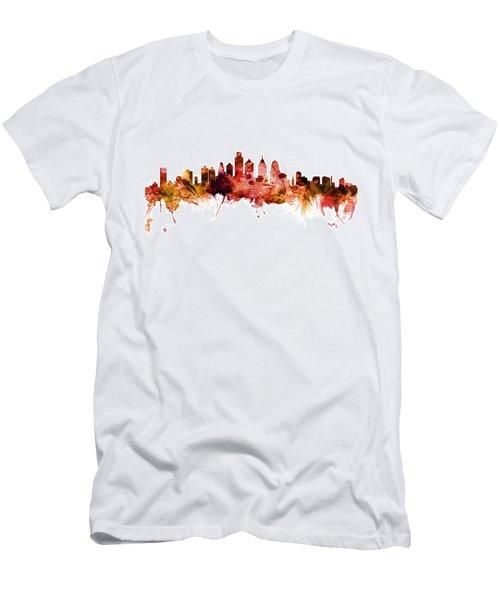 Philadelphia Pennsylvania Skyline Men's T-Shirt (Slim Fit) by Michael Tompsett