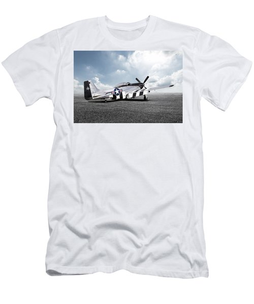Men's T-Shirt (Slim Fit) featuring the digital art Quick Silver P-51 by Peter Chilelli