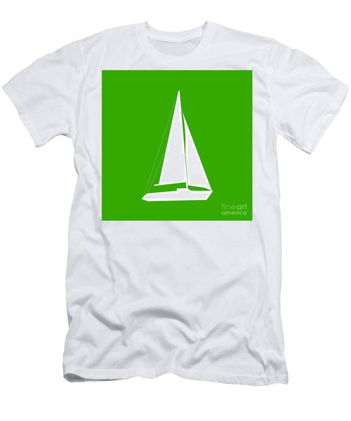 Sailboat In Green And White Men's T-Shirt (Athletic Fit)