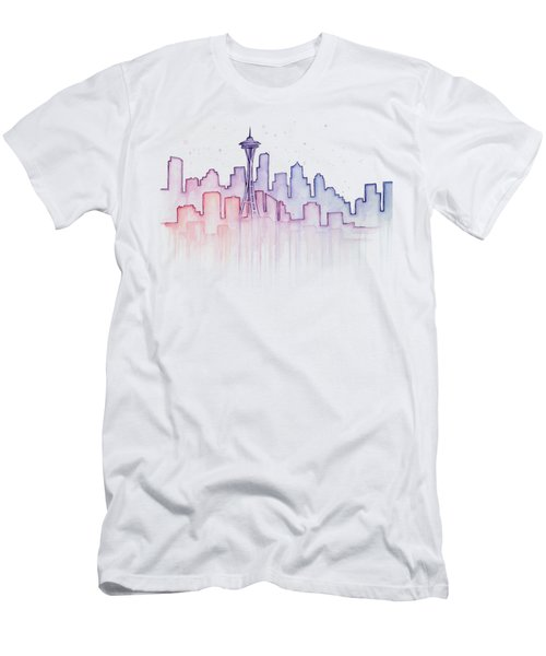 Seattle Skyline Watercolor Men's T-Shirt (Athletic Fit)