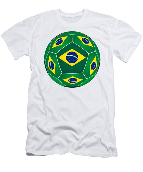 Soccer Ball With Brazilian Flag Men's T-Shirt (Athletic Fit)