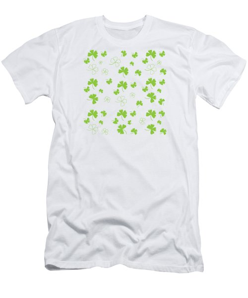 St. Patrick's Four Leaf Clover Background Men's T-Shirt (Athletic Fit)