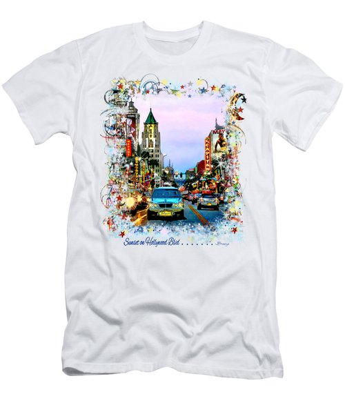 Sunset On Hollywood Blvd Men's T-Shirt (Slim Fit) by Jennie Breeze