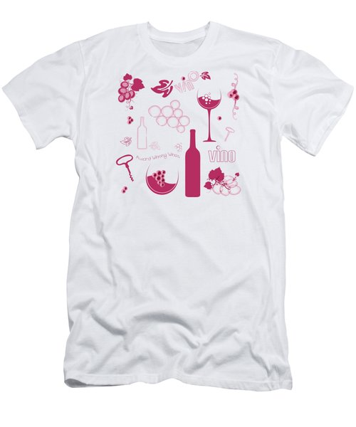 Wine Background Pattern Men's T-Shirt (Slim Fit) by Serena King