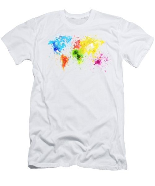 World Map Painting Men's T-Shirt (Athletic Fit)