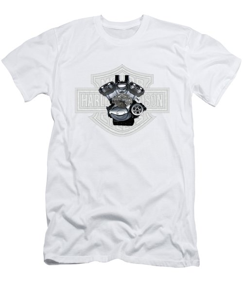 Men's T-Shirt (Slim Fit) featuring the digital art 2002 Harley-davidson Revolution Engine With 3d Badge  by Serge Averbukh