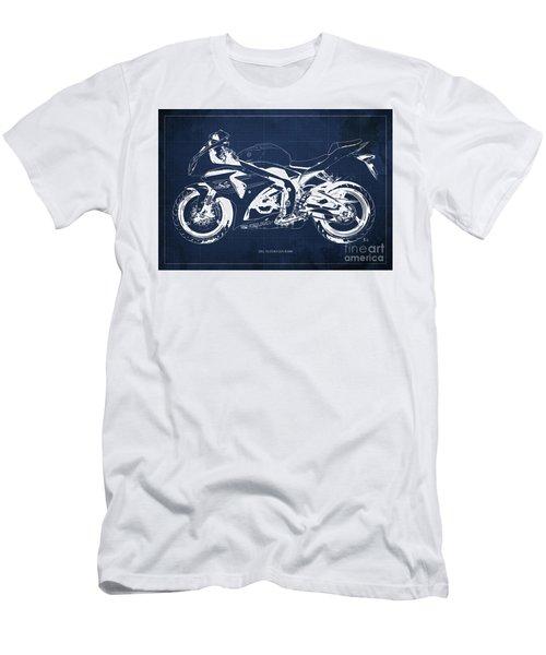 2012 Suzuki Gsx-r1000 Blueprint Motorcycle Art Print Blue Background Men's T-Shirt (Athletic Fit)