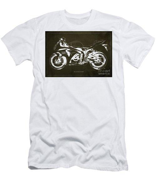 2012 Suzuki Gsx-r1000 Blueprint Motorcycle Art Print Brown Background Men's T-Shirt (Athletic Fit)