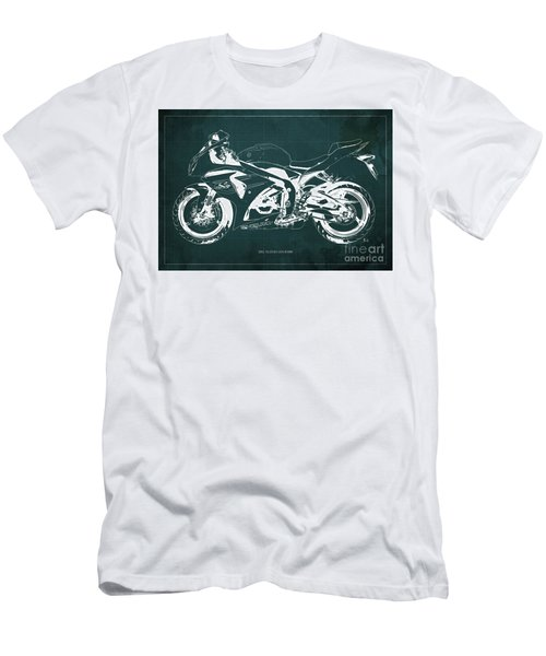 2012 Suzuki Gsx-r1000 Blueprint Motorcycle Art Print Green Background Men's T-Shirt (Athletic Fit)