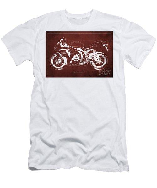 2012 Suzuki Gsx-r1000 Blueprint Motorcycle Art Print Red Background Men's T-Shirt (Athletic Fit)