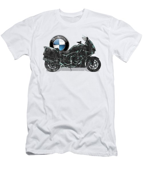 Men's T-Shirt (Slim Fit) featuring the digital art 2016 Bmw-k1600gt Motorcycle With 3d Badge Over Vintage Blueprint  by Serge Averbukh