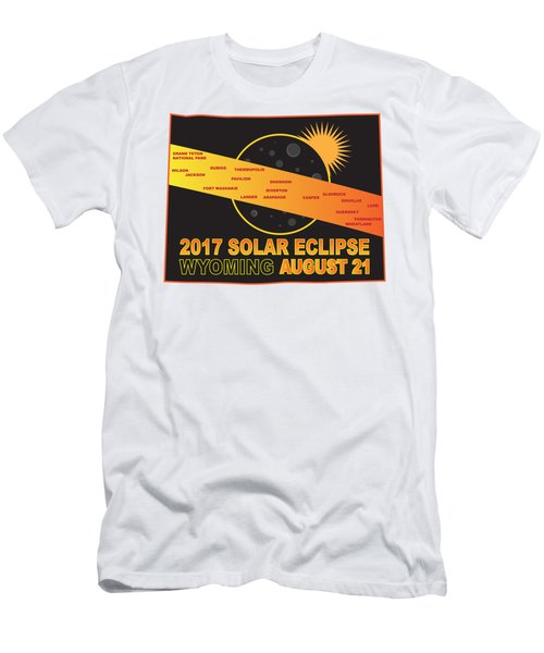 2017 Solar Eclipse Across Wyoming Cities Map Illustration Men's T-Shirt (Athletic Fit)