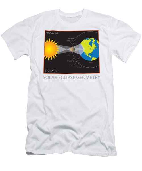 2017 Solar Eclipse Geometry Wyoming State Map Illustration Men's T-Shirt (Athletic Fit)