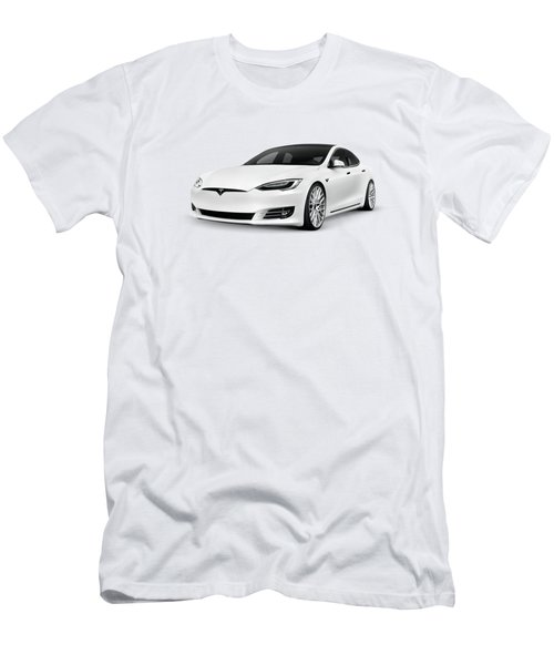 2018 Tesla Model S, White Luxury Electric Car  Men's T-Shirt (Athletic Fit)