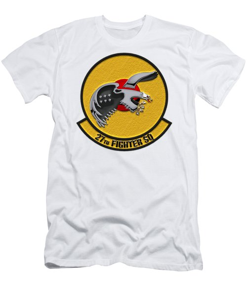 Men's T-Shirt (Slim Fit) featuring the digital art 27th Fighter Squadron - 27 Fs Patch Over White Leather by Serge Averbukh