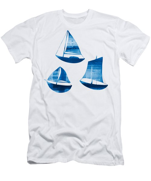 Men's T-Shirt (Slim Fit) featuring the painting 3 Little Blue Sailing Boats by Frank Tschakert
