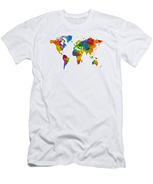 Map Of The World Map Watercolor Men's T-Shirt (Slim Fit) by Michael Tompsett