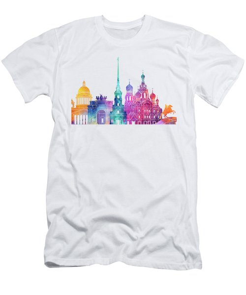 Paris Landmarks Watercolor Poster Men's T-Shirt (Athletic Fit)