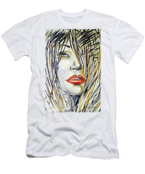 Red Lipstick 081208 Men's T-Shirt (Slim Fit) by Selena Boron