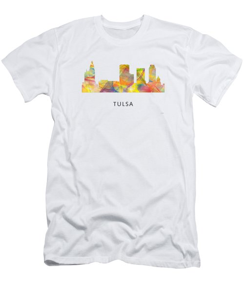 Tulsa Oklahoma Skyline Men's T-Shirt (Slim Fit) by Marlene Watson