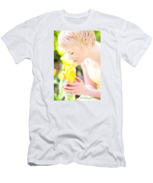 Men's T-Shirt (Athletic Fit) featuring the digital art Vintage Val Spring Tulips by Jill Wellington