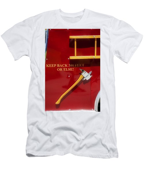 Men's T-Shirt (Slim Fit) featuring the photograph Fire Truck Caution by Toni Hopper